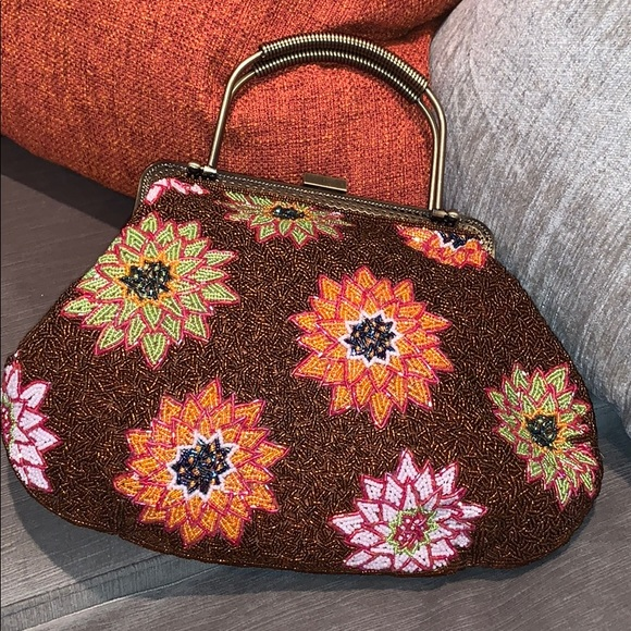 Floral Beaded Handbag with brass detail Large